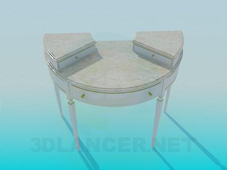 3d моделирование Полукруглый стол с ящиками модель скачать бесплатно