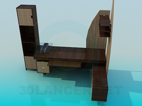 3d modeling Work table with cupboard model free download