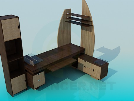 3d model Work table with cupboard - preview