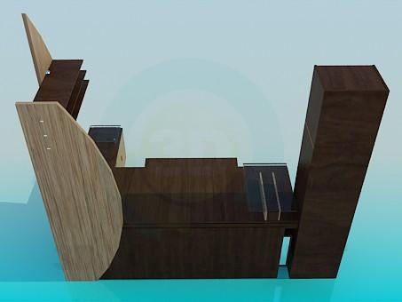 3d модель Рабочий стол со шкафом – превью