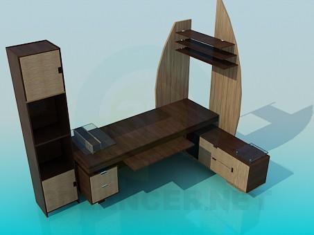 modelo 3D Mesa de trabajo con armario - escuchar