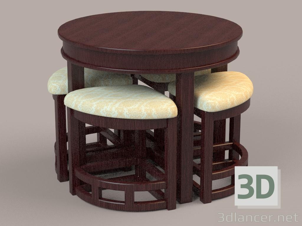 Modelo 3d juego de cocina de una mesa y cuatro sillas for Juego de mesa y sillas para cocina