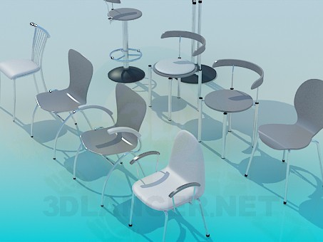 modelo 3D Variedad de sillas - escuchar