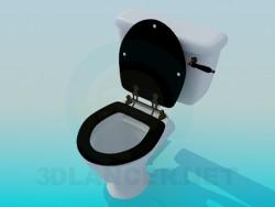 WC-Schüssel mit schwarzem Deckel