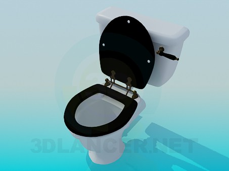 3d model Toilet bowl with black lid - preview