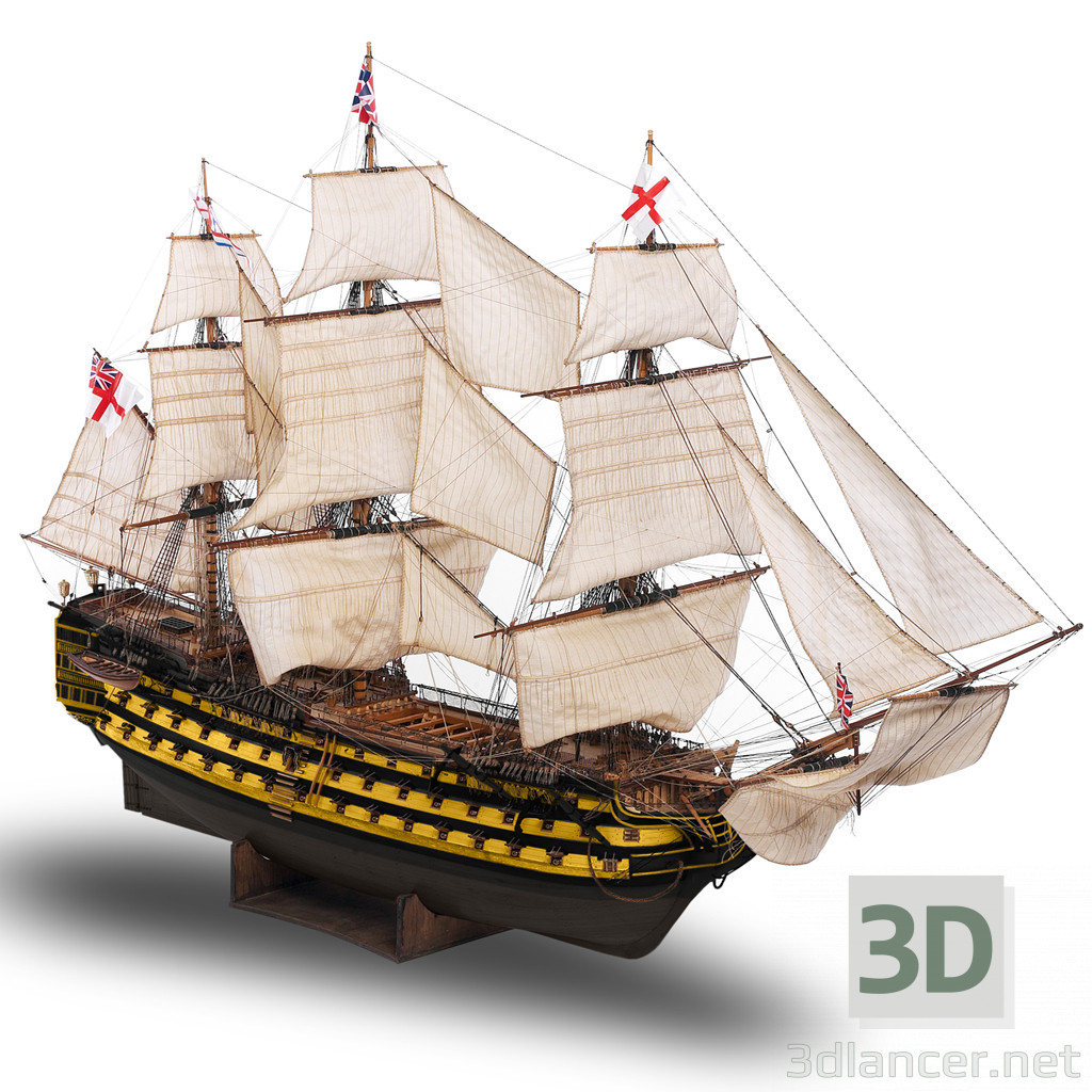 3d model sailing boat - preview