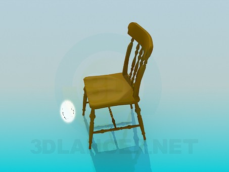 3d model Wooden carved chair - preview