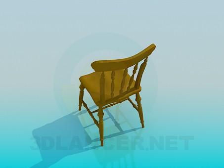 3d модель Дерев'яний різьблений стілець – превью
