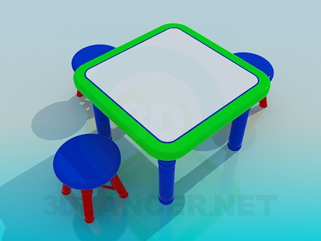 3d model Table and chairs - preview