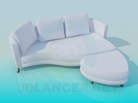 3d моделирование Софа с пуфиком модель скачать бесплатно
