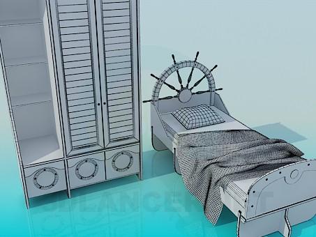descarga gratuita de 3D modelado modelo Armario y cama individual