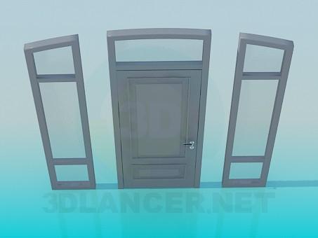 3d model Puerta con ventanas laterales - vista previa