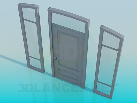 3d model Door with side windows - preview