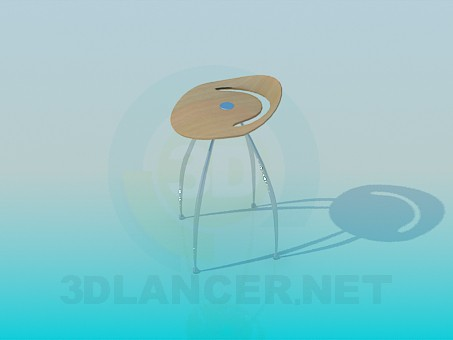 3d model A stool with small backrest - preview