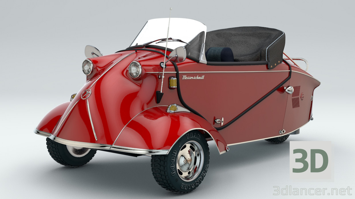 3d modeling Messerschmitt KR200 Car Roadster model free download
