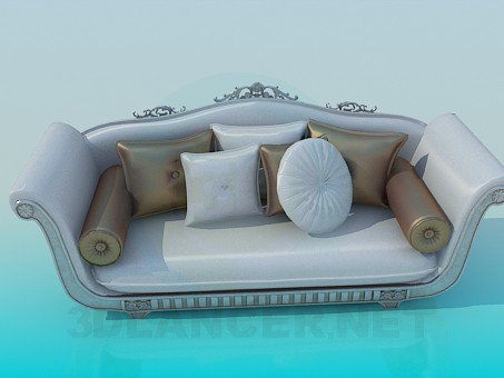 3d modeling Sofa with Baroque elements model free download