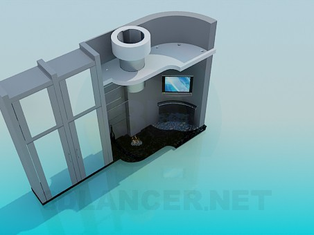 modelo 3D Los muebles de la sala de estar con chimenea - escuchar
