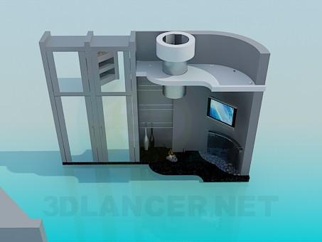 3d модель Мебель в гостинную с камином – превью