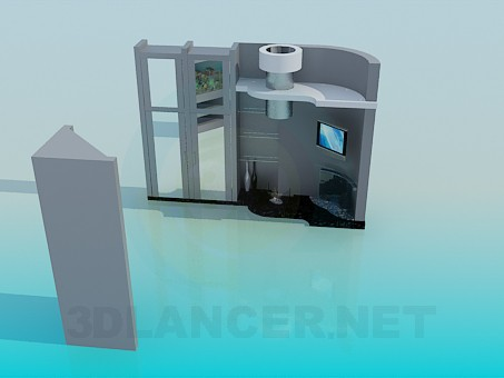 3d model The furniture in the living room with fireplace - preview