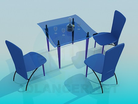 3d model Glass table and chairs - preview