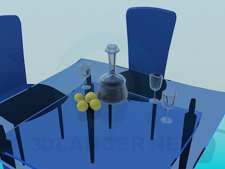3d модель Стекляный стол и стулья – превью