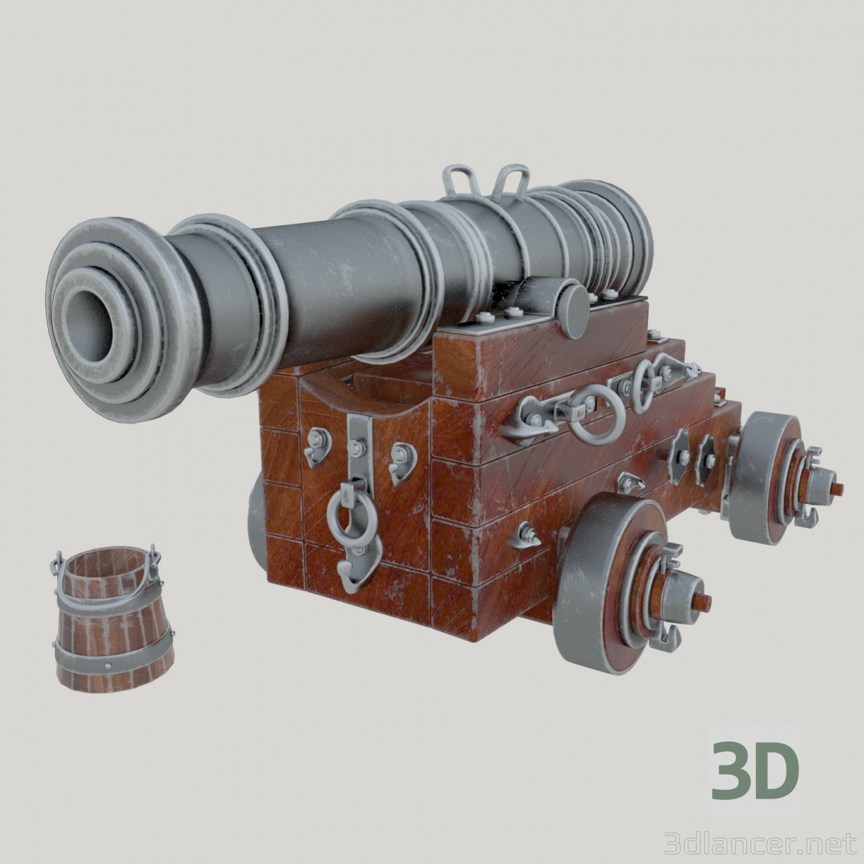 "3d Naval gun ""Unicorn"". Vessel cannon Unicorn model buy - render"