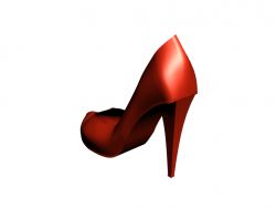 Female high-heeled shoes in red.