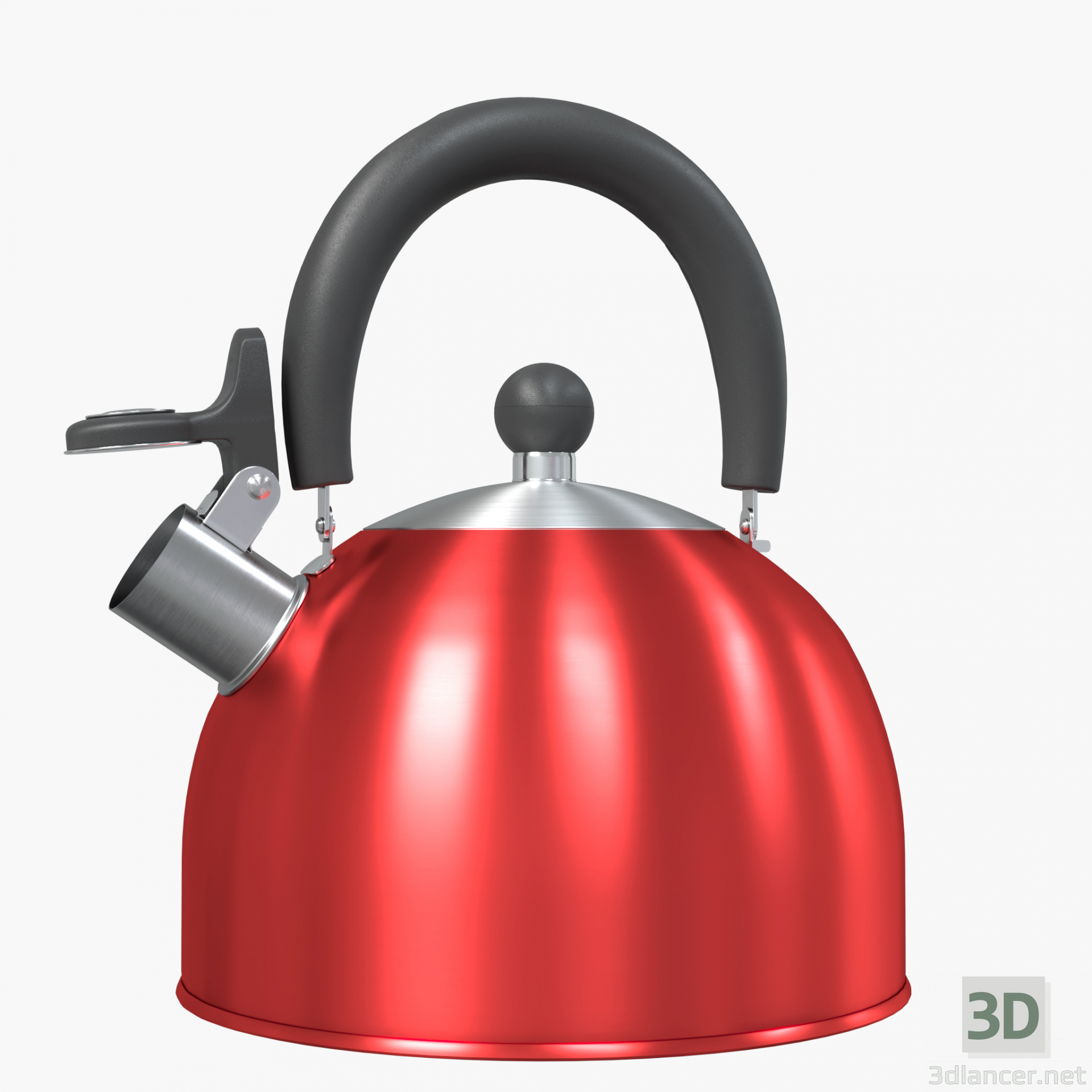 3d Steel red teapot with a whistle model buy - render