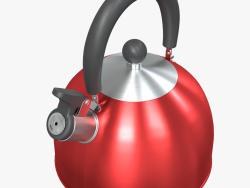 Bule de chá vermelho de aço com apito