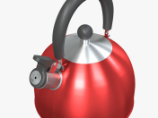 Steel red teapot with a whistle