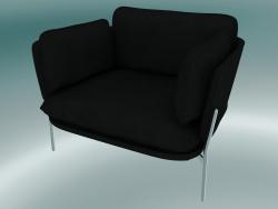 Armchair Cloud (LN1, 84x100 N 75cm, Chromed legs, Leather - Black Silk)