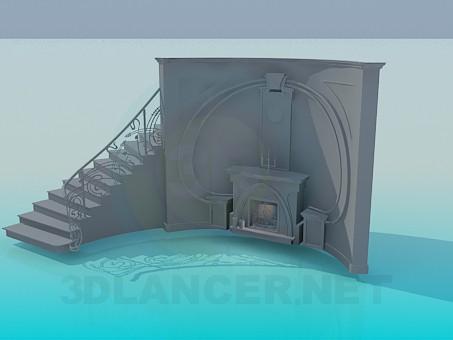 3d модель Камин со сходами позади – превью