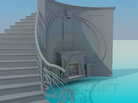 3d model Fireplace with the stairs behind - preview