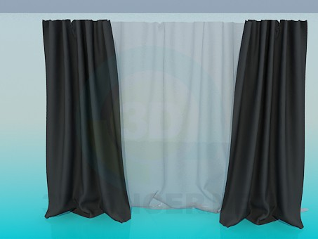 3d model Curtains dark - preview