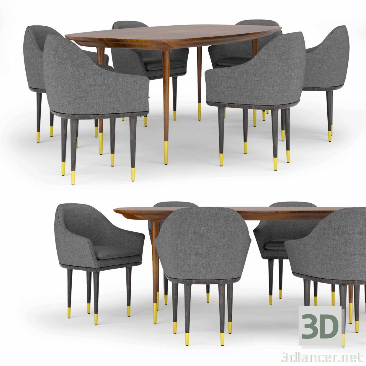 3d Stellar Works Lunar Lounge table and chairs model buy - render