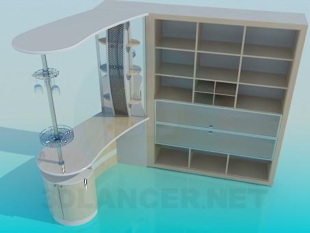 3d модель Барный шкафчик со стойкой – превью