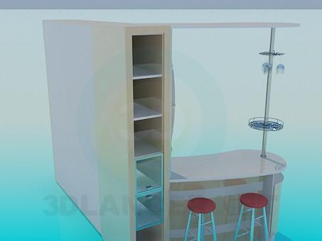 modelo 3D Gabinete con un estante de la barra - escuchar