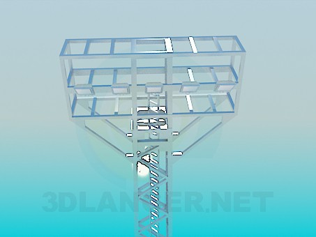 3d model Pole with floodlights - preview