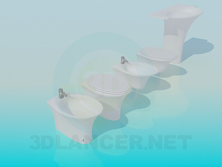 3d model Suspension and conventional toilets and bidets - preview