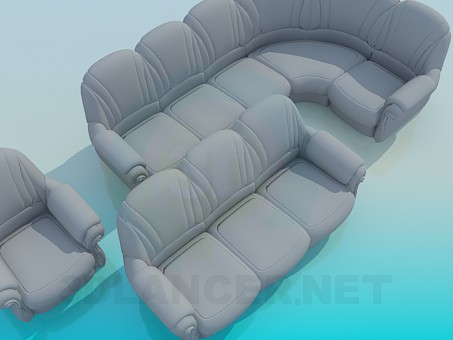 3d model A set of upholstered furniture - preview