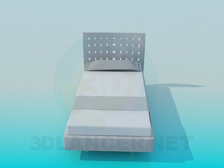 3d model Bed with headboard - preview