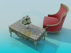 Chaise et table basse