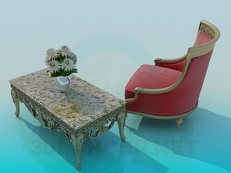 3d model Chair and coffee table - preview