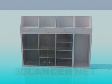3d model Cupboard with drawers and racks - preview