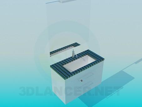 3d модель Умывальник в мелкую плитку – превью