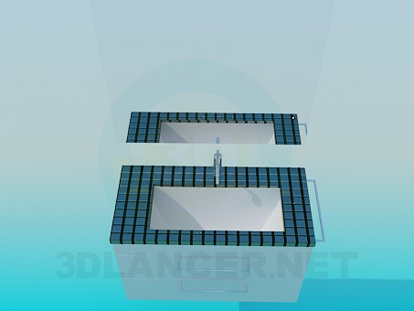 3d model Washbasin of small tile - preview