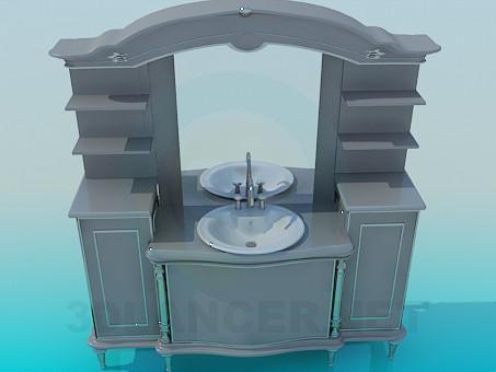 3d модель Мебель под умывальник – превью