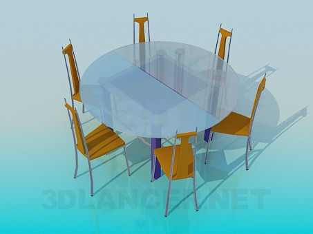 3d model Dining set - preview