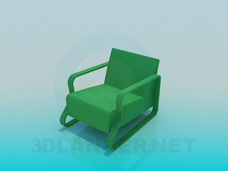 3d model Chair with solid armrests - preview