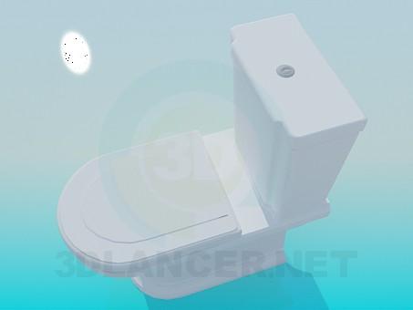 3d модель Унітаз з незграбним бачком – превью